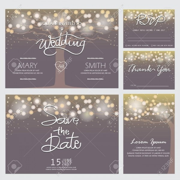 Wedding Invitation, Rsvp, And Thank You Card Templates,light