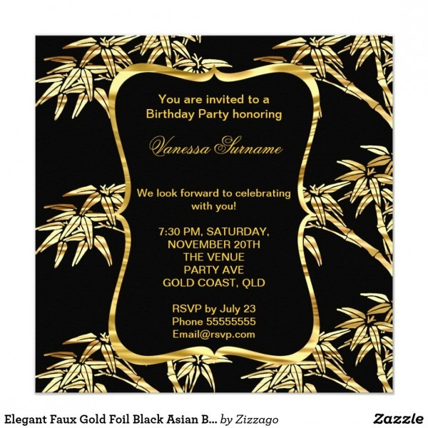 Elegant Faux Gold Foil Black Asian Bamboo Party Card