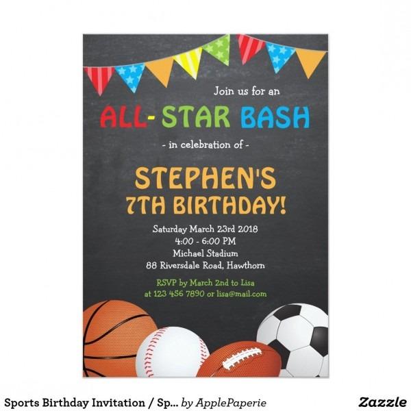 Sports Birthday Invitation   Sports Invitation