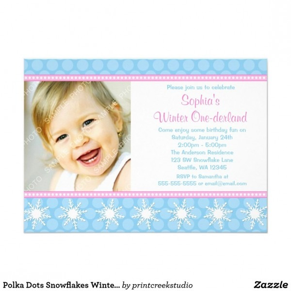 Polka Dots Snowflakes Winter Onederland Birthday Card An Adorable