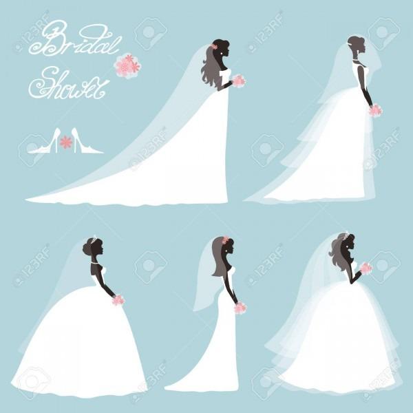 Wedding Bride In Different Dress Style Bridal Shower Decor Set