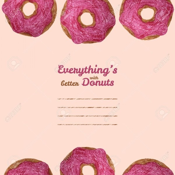 Everything's Better With Donuts' Invitation  Vector Illustration