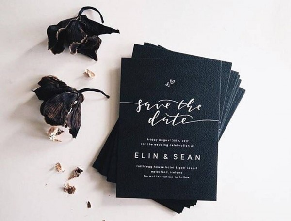 Black Wedding Card