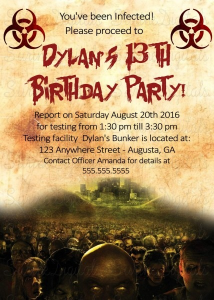 Zombie Apocalypse Walking Dead Birthday Party Invitation Halloween