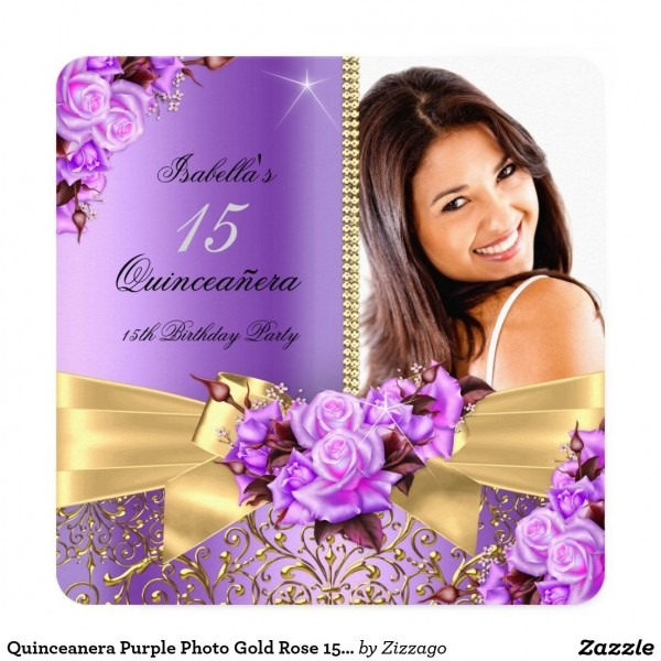 Quinceanera Purple Photo Gold Rose 15th Birthday Invitation