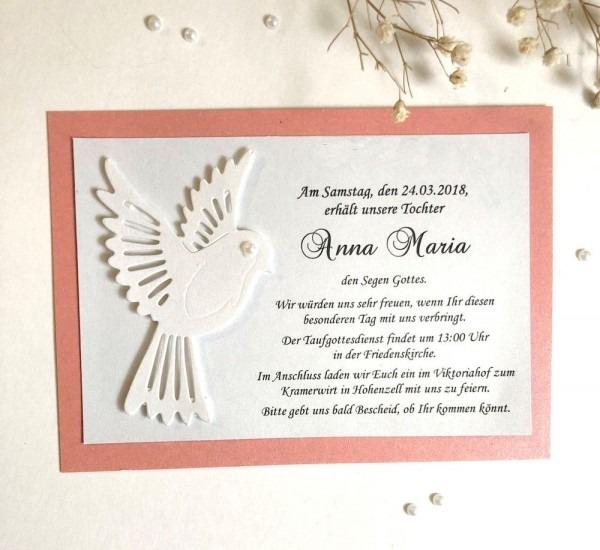Beige Baptism Invitations, Girl Baptism Invitation, Lace & Bow
