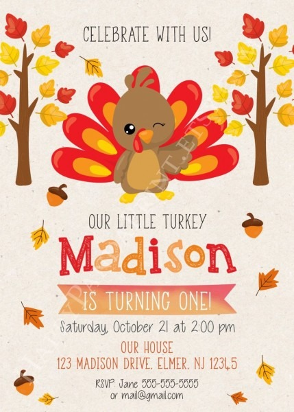 Turkey Birthday Invitation, Little Turkey Invitation, Thanksgiving