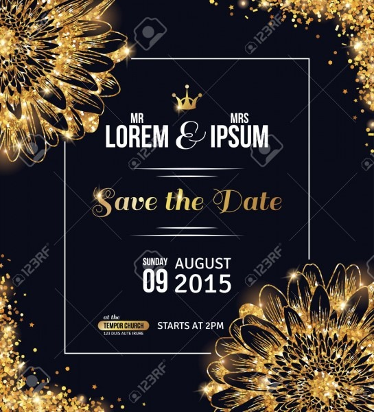 Wedding Invitation Card Design  Gold Confetti With Flowers And
