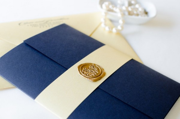 Navy Blue, Gold Shimmer, And Ivory Wedding Invitation With Gold