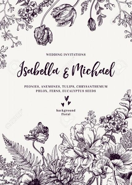 Vintage Wedding Invitation  Summer Garden Flowers  Peonies