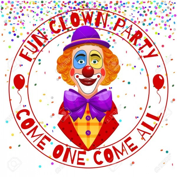 Fun Clowns Party Invitation  Funny Happy Laughing Clown With