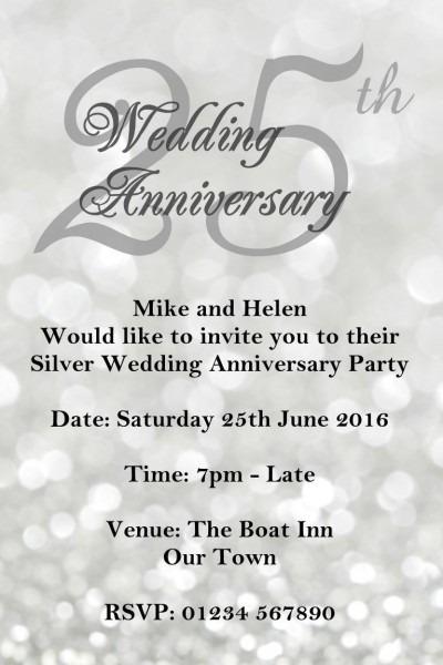 25th Wedding Anniversary Invitations Printable