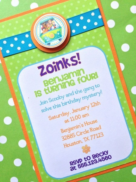 Scooby Doo Personalized Invite, Custom Party Invitations