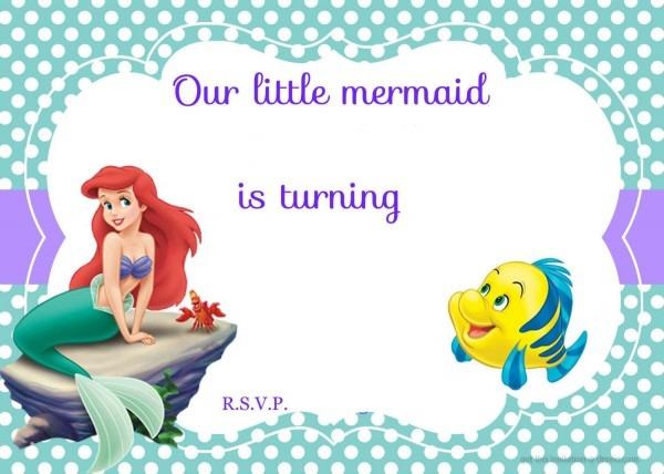 Updated! Free Printable Ariel The Little Mermaid Invitation