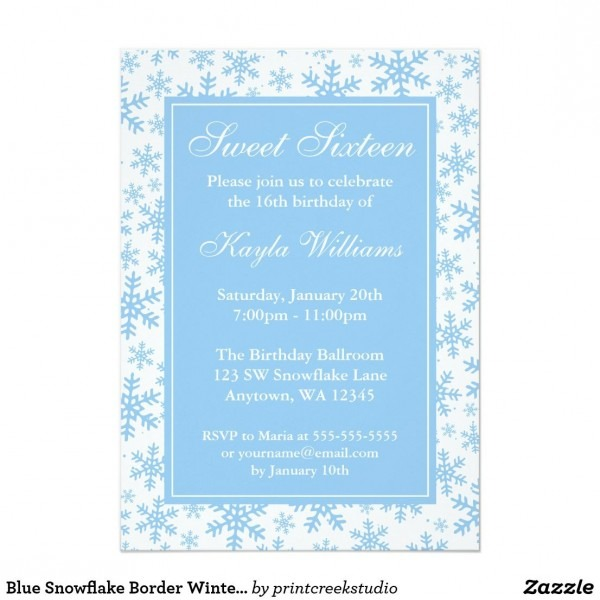 Blue Snowflake Border Winter Wonderland Sweet 16 Invitation