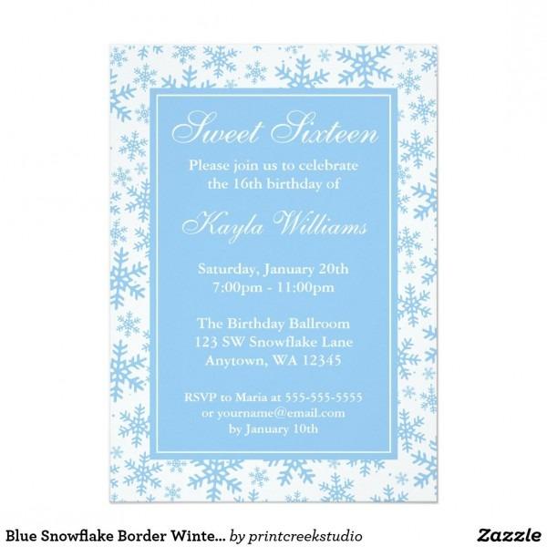 Blue Snowflake Border Winter Wonderland Sweet 16 Invitation