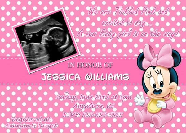 Baby Shower Invitations  Pink Background Polkadot Style Photo