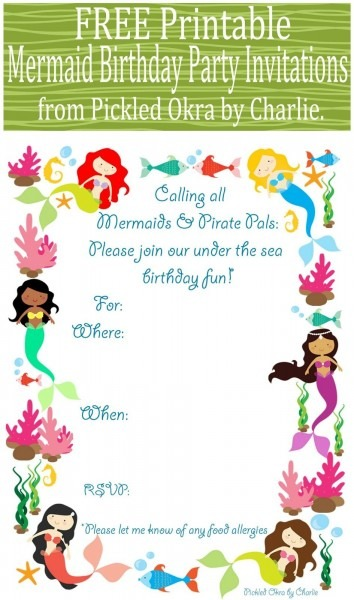 Pickled Okra By Charlie  Mermaid Bithday Party Invitations, Free