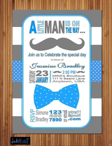 Mustache Baby Shower Blue Grey Invitation