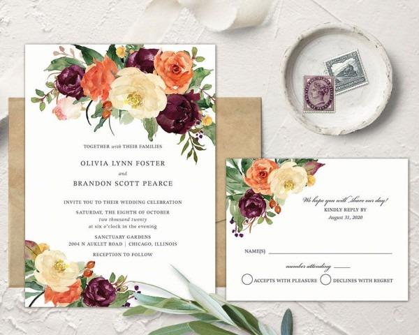Invitation Suite Fall Winter Fall Wedding Winter Wedding