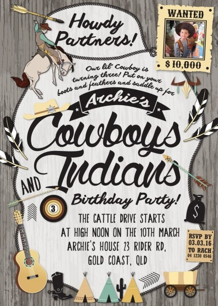 Cowboys And Indians   Wild West Party Invitation