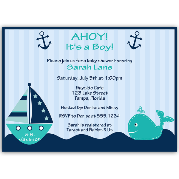 Ahoy It's A Boy Whale Teal Baby Shower Invitation