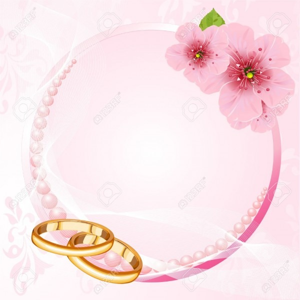 Wedding Rings And Pink Cherry Blossom Design Royalty Free Cliparts