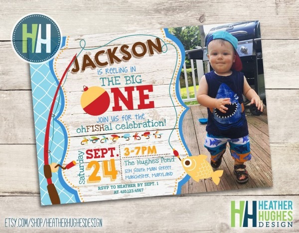 Big One Invitation, Fishing Theme Birthday Invite, Boy First