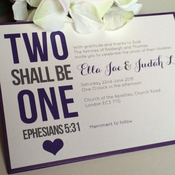 Two Shall Be One Christian Wedding Invitations  Weddinginvitations