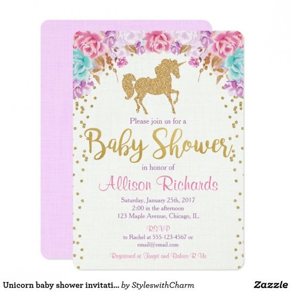 Unicorn Baby Shower Invitation Pink And Gold