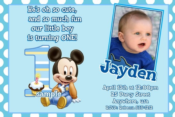 Mickey Mouse 1st Birthday Invitations (baby Mickey Mouse 1st