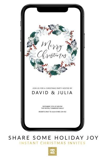 Christmas Invitation Editable, Rustic Wreath Christmas Invitation