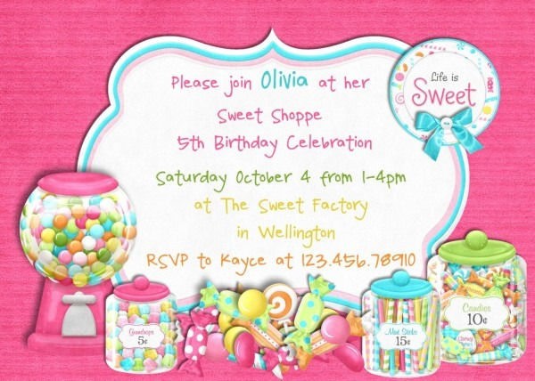 Cool Free Template Candy Themed Birthday Party Invitations