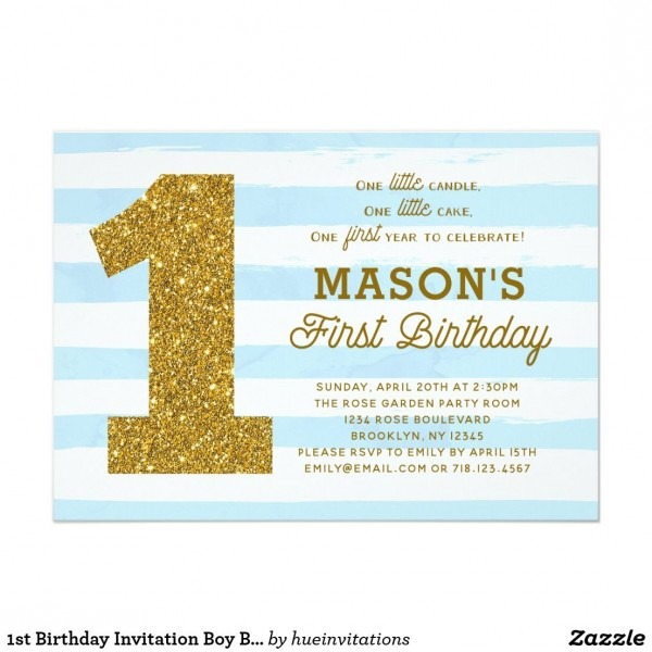 1st Birthday Invitation Boy Baby Blue Stripes Gold In 2019