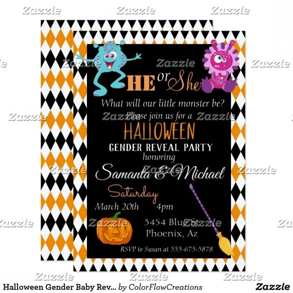 Halloween Gender Baby Reveal Party Monster Orange Invitation In
