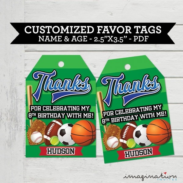 Field Day Sports Birthday Favor Tags Thank You Cards Favour Labels