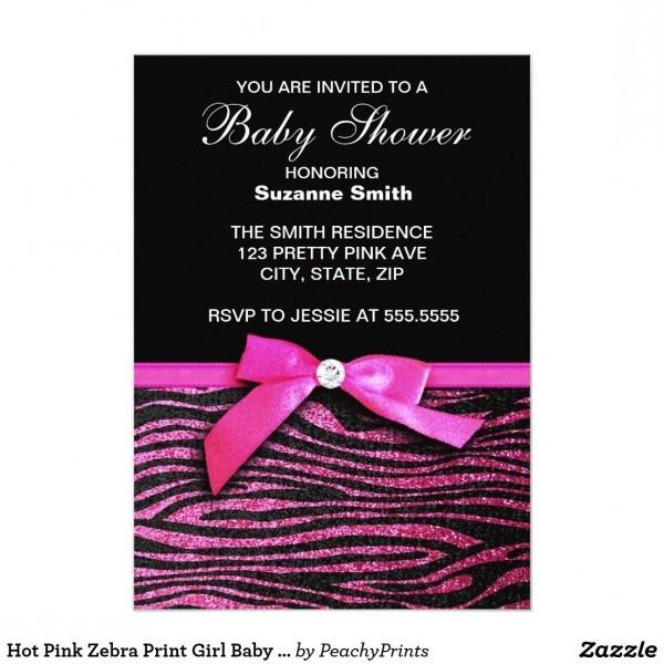 Hot Pink Zebra Print Girl Baby Shower Invitations