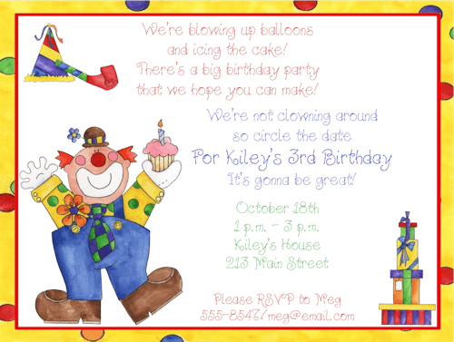 Clown Birthday Party Invitations – Your Cool Party Photo