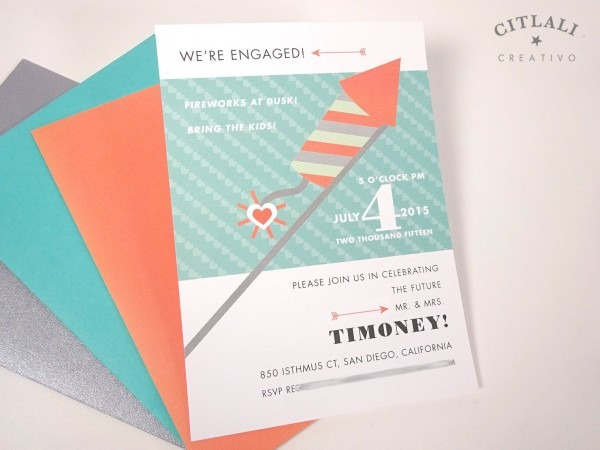 Fireworks Wedding Engagement Invitation In Coral Aqua And Gray