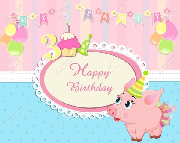 Baby Birthday Invitation With Cute Little Piglet Royalty Free