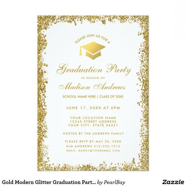 Gold Modern Glitter Graduation Party Invite W In 2018