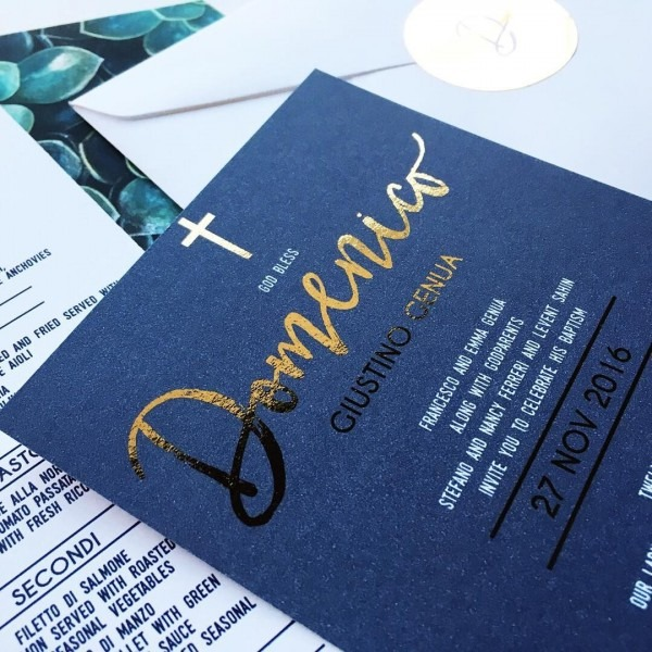 Baptism And Christening Invitations For Baby Boy  Navy And Gold