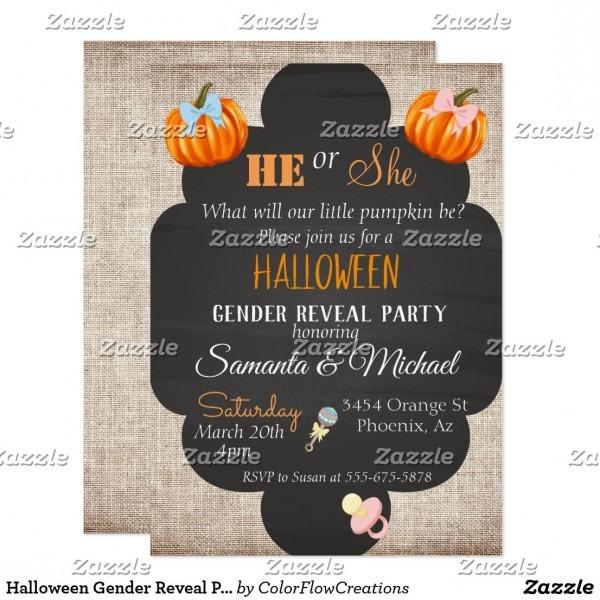 Halloween Gender Reveal Party Pumpkin Thanksgiving Invitation