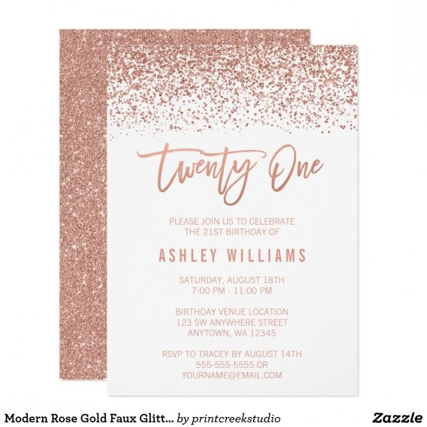 Modern Rose Gold Faux Glitter 21st Birthday Invitation In 2019
