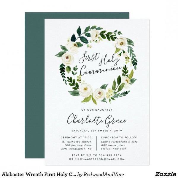 Alabaster Wreath First Holy Communion Invitation