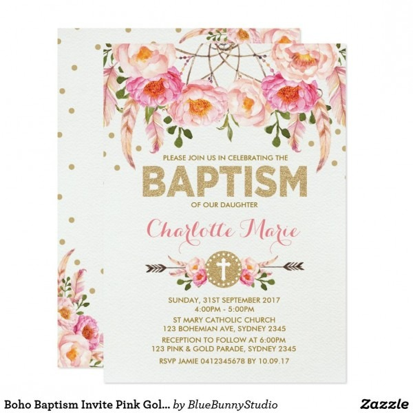 Boho Baptism Invite Pink Gold Floral Dreamcatcher