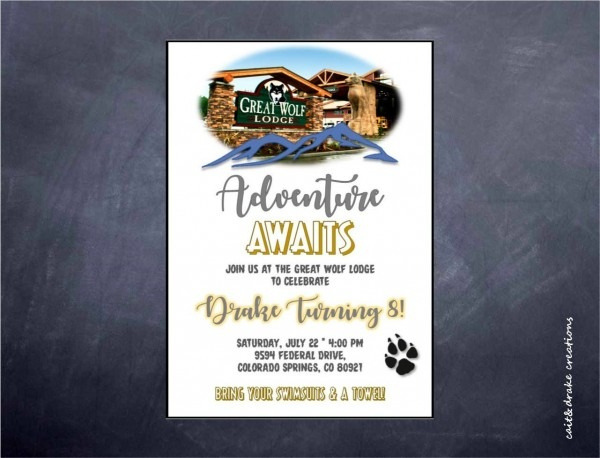 Great Wolf Lodge Birthday Party Invitation Digital Print Printable