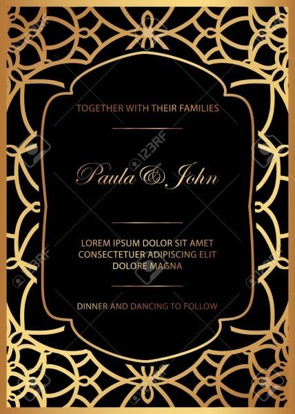 Stylish Gold And Black Wedding Card  Royal Vintage Wedding