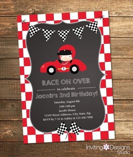 Race Car Birthday Invitation, Boy Birthday, Second Birthday, First