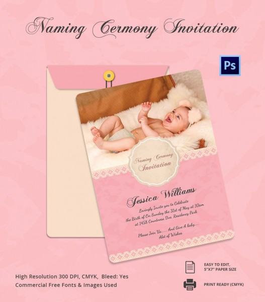 Baby Shower Invitation Card For Naming Ceremony And